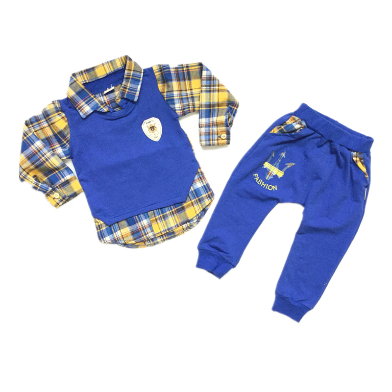 Fashion Boys Clothes sets Toddler Baby Boy Clothing Set LAYERED-LOOK Turn-Down Collar Top + Pants Childrens Casual Suit