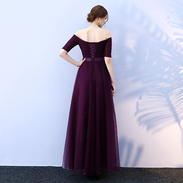 Beauty-Emily Long Purple Red Gray Cheap Evening Dresses A-Line Off the Shoulder Half Sleeve Vestido da dama de honra