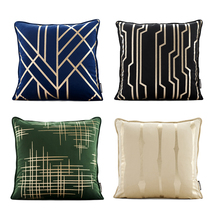 soft plush thick gilding geometric cushion cover 45*45cm curve line pillow green gray blue sofa bed decorative pillowcase