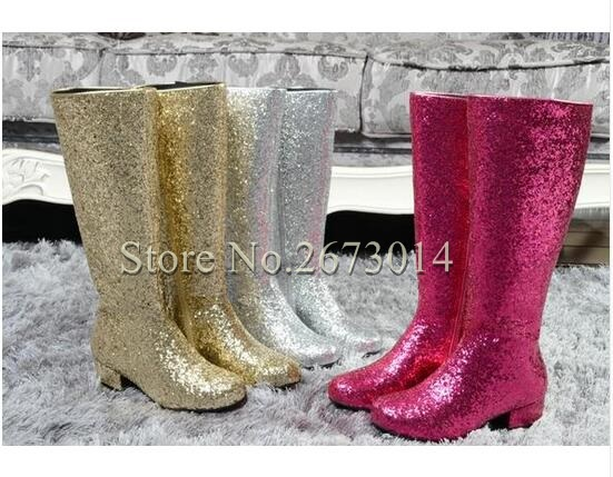 Bling Bling Glitter Autumn Mid-calf Boots Round Toe Square Thick Low Heels Women Boots Women Wedding Boots Free Shipping B111 krazing pot genuine leather sheep skin thick high heels square toe zipper boots women superstar party western mid calf boots l17