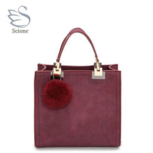 Brand Top-Handle Bags Women Leather Handbags Large Solid Shopping Tote With Tassel Fur Ball Shoulder Bag Messenger Bags ZZ541