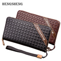 2016 Brand Business Men Long Weave Wallets PU Leather With Zipper Large Capacity Men Clutch Wallet Purses Handy Bag Carteras