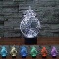 BB-8 acrílico Star Wars 3D Luz Da Noite LEVOU Novidade Luz Lâmpada 7 Cores Mutável LED Lâmpada Luminaria Luzes 3D Caçoa o Presente Toy