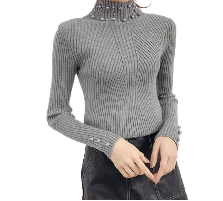 New Winter Women Pearl Beaded Sweater High Neck Long Sleeve Slim Casual Female Knit Sweater Pullover