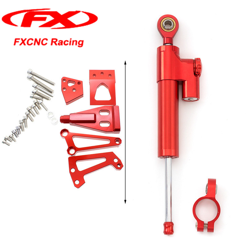 FXCNC Red Motorcycle Steering Damper + Brackets Stabilizer for Kawasaki ER-6N NINJA400 2011 2010 2009 Mounted Kits