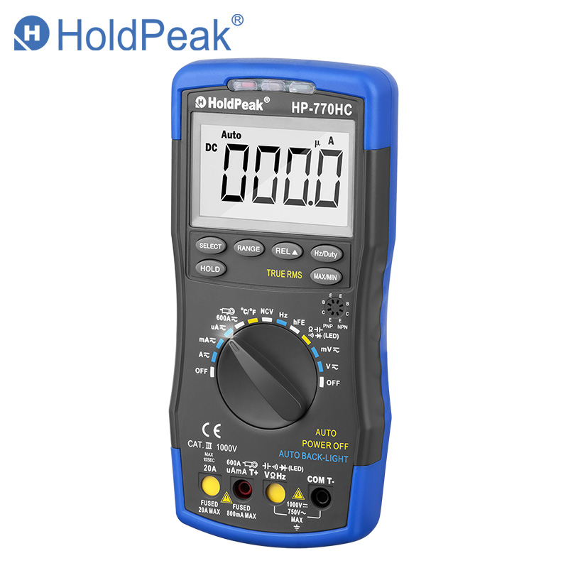 Multimetro HoldPeak HP-770HC True RMS Auto Ranging Digital Multimeter with NCV Feature and Temperature/Frequency/Duty Cycle Test multimetro holdpeak hp 770c digital lcr multimeter meter with ncv feature and inductance frequency test