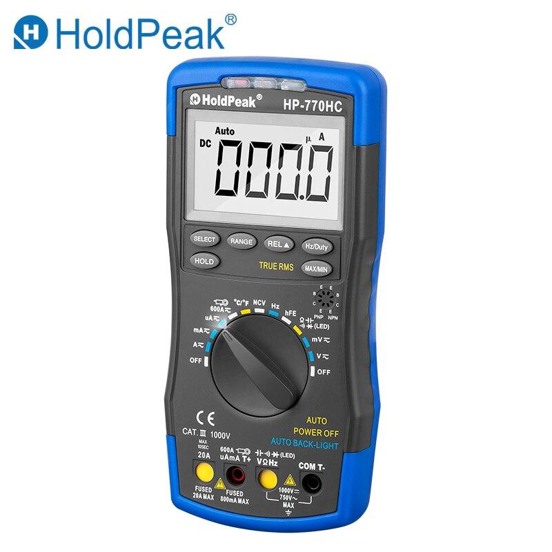 Multimetro HoldPeak HP-770HC Vrai RMS Auto Ranging multimètre digital avec NCV Caractéristique et Température/Fréquence/cycle de service Test