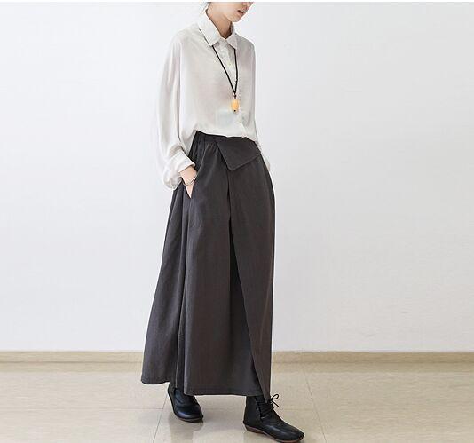 73f1107f3 € 40.87 |2017 Mujeres Nuevos Diseños Originales de Algodón de Cintura Alta  Faldas Otoño falda Plisada Maxi Faldas Negro Gris Casual Arte Van de ...