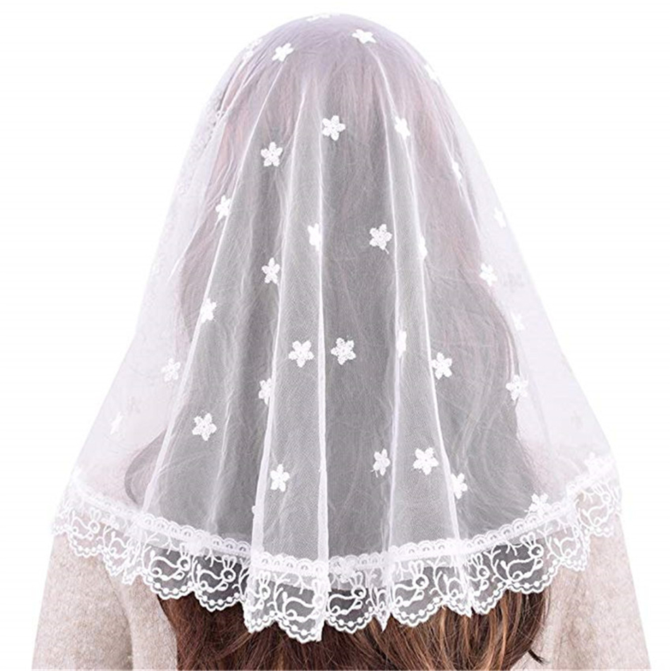 Black White Women Lace Catholic Veil Mantilla For Church Head Covering Latin Mass Vela Negra Voile Dentelle Mantilla Trational