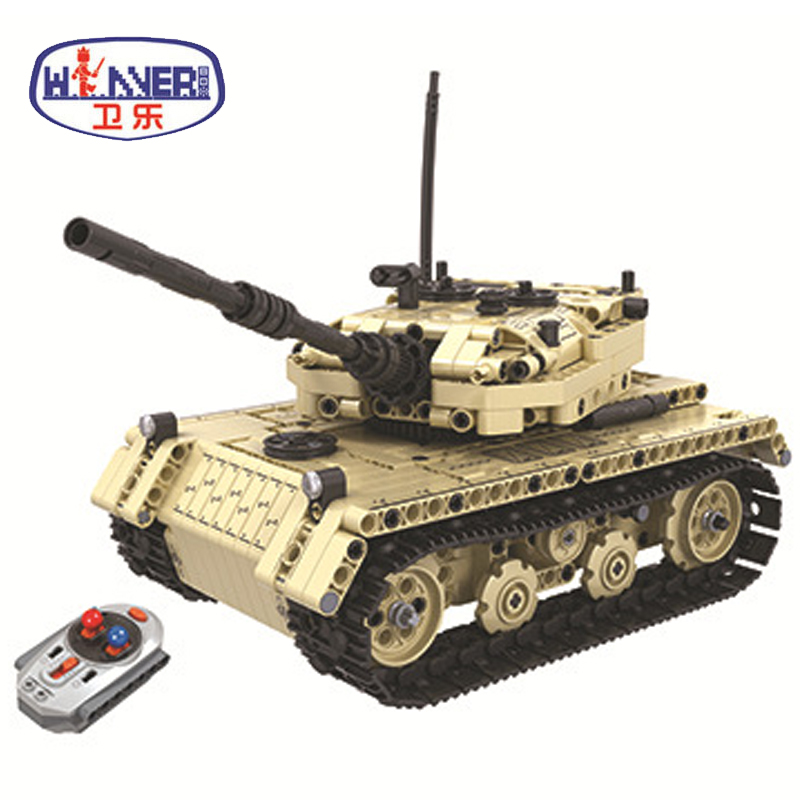 New Technic Military Remote Control RC Tank Electric Bricks Model Building Blocks Toys For Children Gifts