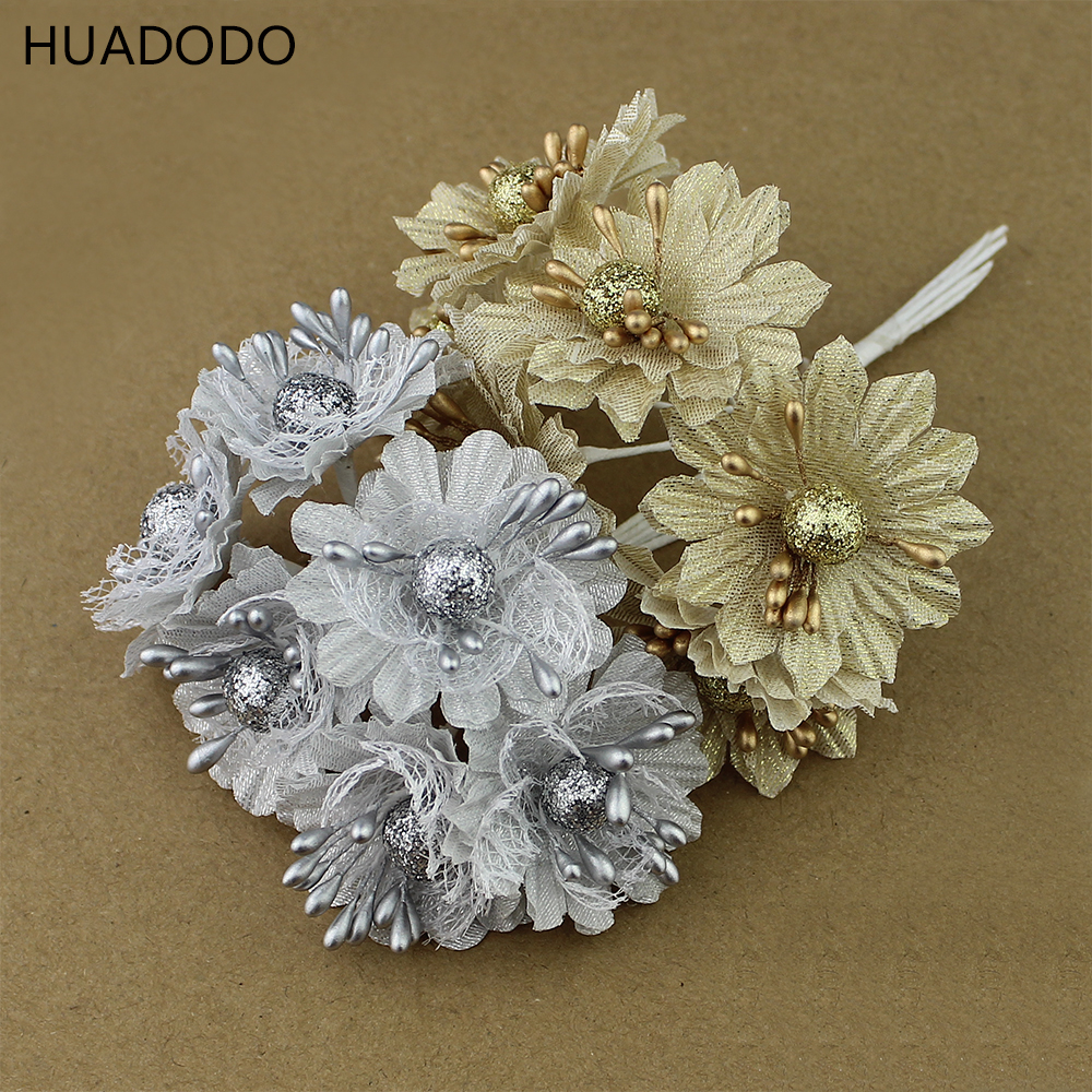 Huadodo 6pcs golden silver glitter artificial silk flower for Artificial flowers for wedding decoration