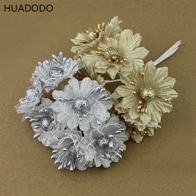 HUADODO 6pcs Golden Silver Glitter Artificial silk flower bouquet ...