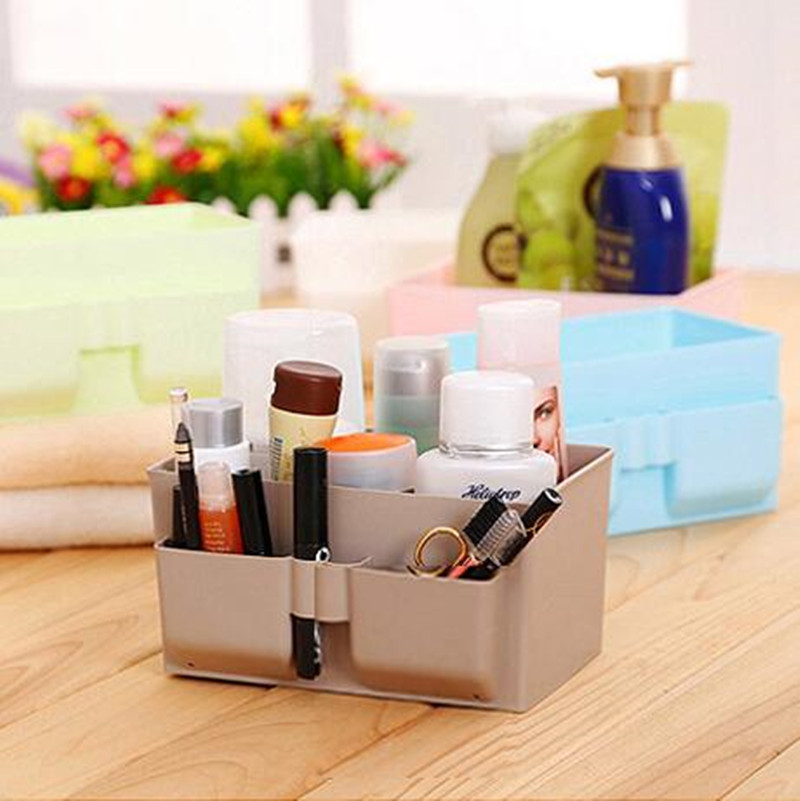 Plastic desktop storage box makeup cosmetics display storage box desk table oragnizer case home storage supplies