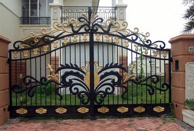 Shanghai wrought iron gates,security iron gates new design automatic sliding gates hwg13