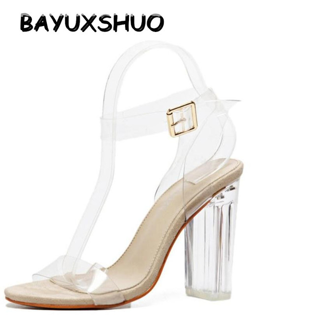 BAYUXSHUO New Women Sandals Ankle Strap Perspex High Heels PVC Clear Crystal  Concise Classic Buckle Strap Sandals Shoes Woman