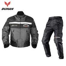DUHAN Windproof Motorcycle Racing Kits Protective Armor Jacket + Pants Hip Protector Motor Jacket & Pants Suits Sets