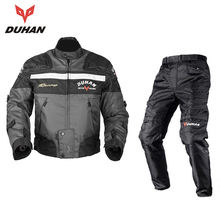 DUHAN Windproof Motorcycle Racing Kits Protective Armor Jacket + Pants Hip Protector Motor Jacket & Pants Suits Sets