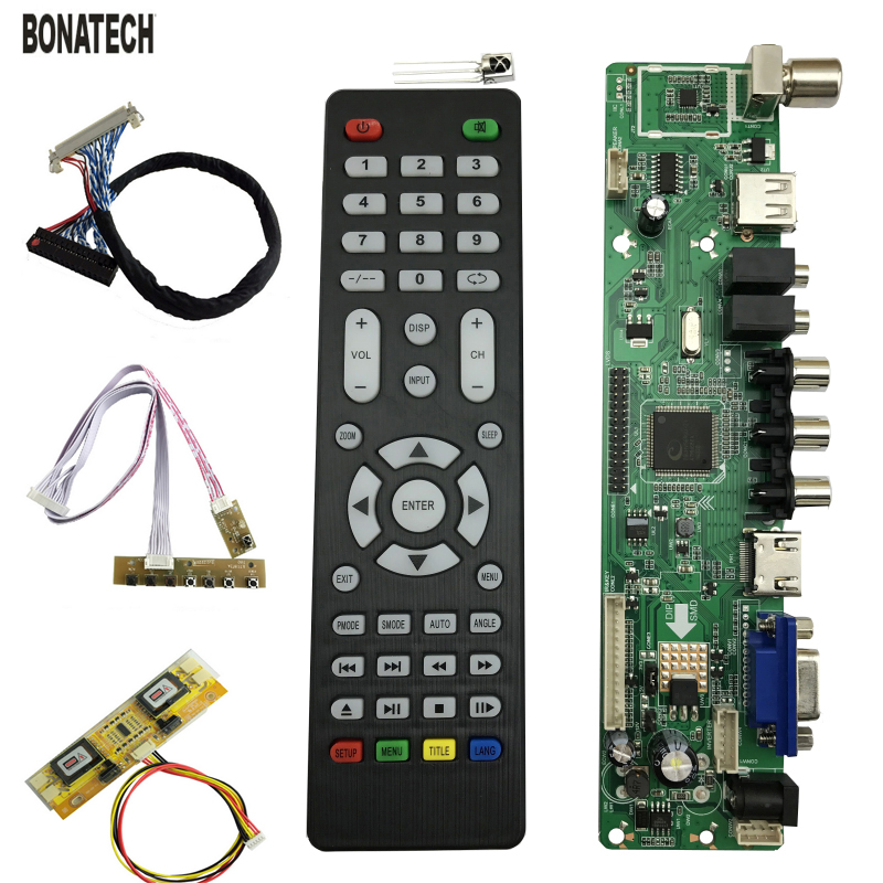 V56 Universal LCD TV Controller Driver Board PC/VGA/HDMI/USB Interface 4 lamp inverter+30pin 2ch-8bit lvds cable+7 keypad 560284