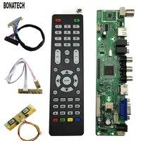 V56 Universal LCD TV Controller Driver Board PC/VGA/HDMI/USB Interface 4 lamp inverter+30pin 2ch 8bit lvds cable+7 keypad 560284