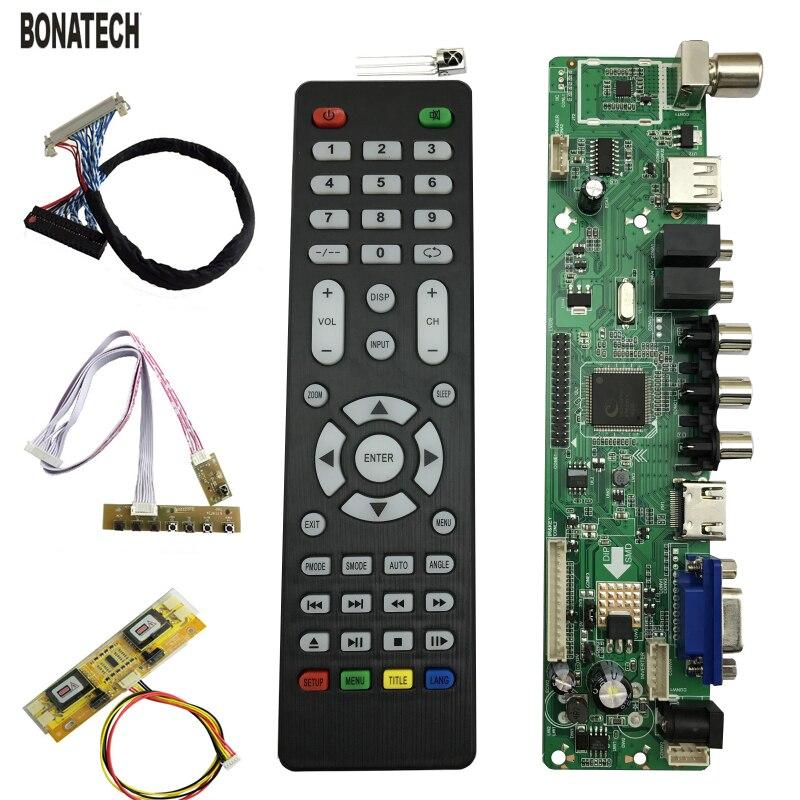 V56 Universal Lcd Tv Controlador Driver Placa Pc/vga/hdmi/usb Interface 4 Lâmpada Inversor + 30pin 2ch-8bit Lvds Cabo + 7 Teclado 560284
