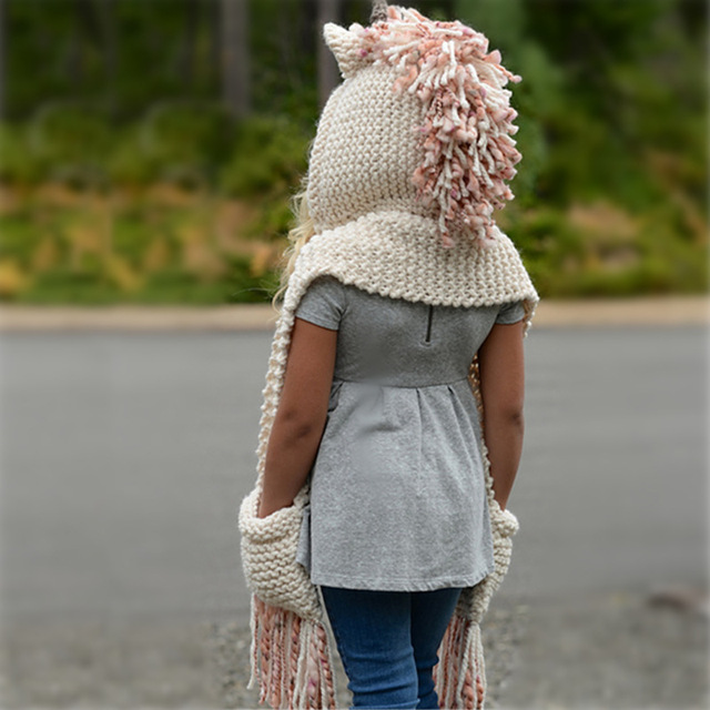 New fashion Innovative cartoon unicorn children's wool hat autumn and winter warm knit hat comfortable cute baby hat