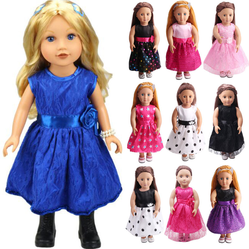 2018 New Handmade 15 Colors Princess Dress Doll Clothes For 18inch Dolls American Girl Doll Clothes Fit 43cm Baby Doll