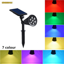 2pcs/Lot Solar panel 7LED Spike Spot Light Spotlight Landscape Garden Yard Path Lawn Lamps Outdoor Grounding Sun