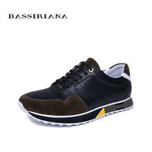 BASSIRIANA 2019 new fashion men's casual shoes natural leather spring and autumn Lace-up black and blue size 39-45