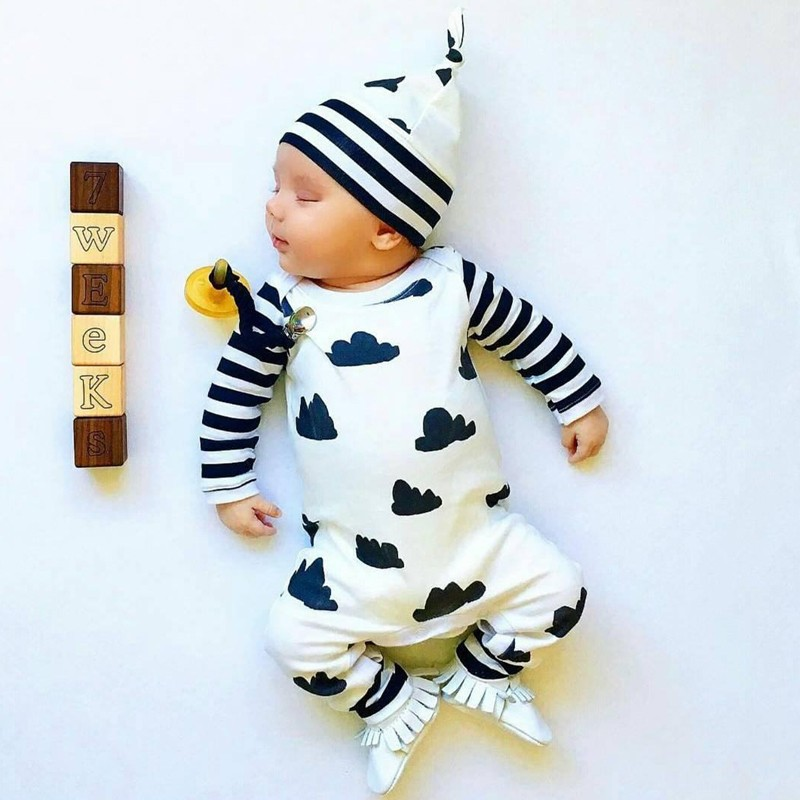 2017 New Style Infant Cloting Set Autumn Baby Boy Girl Romper Long sleeve Cartoon Jumpsuit+Hat 2Pcs Newborn Toddler Baby Clothes