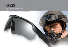 Googles militares CROSS Polarizado Ballistic, 3, 4 lentes o 5 lentes, gafas militares de sol con logotipo original, protectores de ojo de combate para hombre y mujer