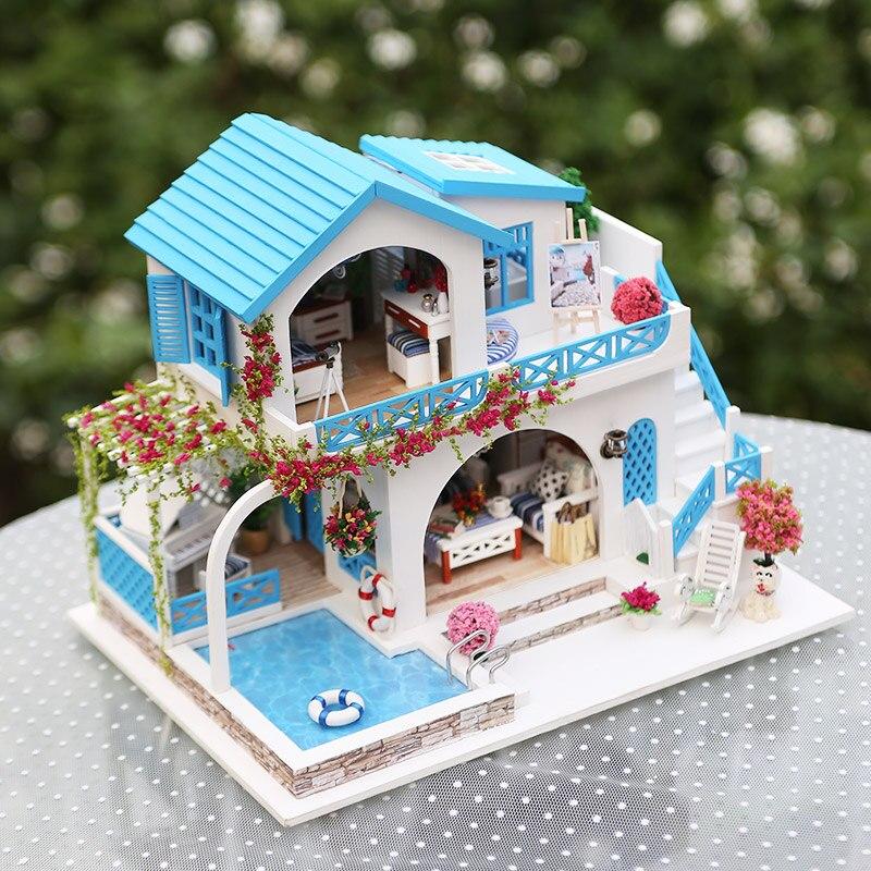 Kit com Móveis de Cozinha Casa de Bonecas em miniatura casa de Bonecas Diy Brinquedos para Crianças Brinquedo De Madeira Casa De Madeira Casa de Boneca Crianças presente
