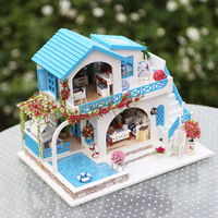 Miniature Doll House Kit with Furniture Kitchen Diy Dollhouse Wooden Toys for Children Home Toy Wooden House for Doll Kids Gift