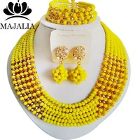 Majalia Fashion Opaque yellow and Gold champagne Nigerian Wedding African Jewelry Set Crystal Necklace Bride Jewelry Sets 6CF008