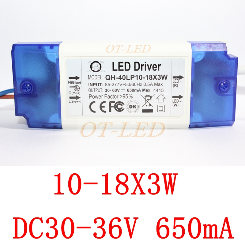High PF Isolated 10-18x3W 650mA LED Driver 12x3W 14x3W 15x3W 16x3W 18x3W 30W 40W DC30-60V High Power LED Powr Supply For LED Lig 90w led driver dc40v 2 7a high power led driver for flood light street light ip65 constant current drive power supply