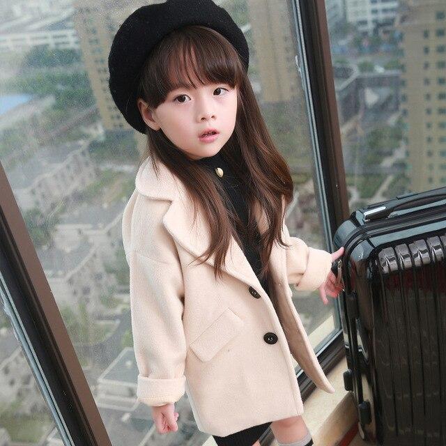 new 2015 autumn winter fashion solid turn down woolen girls coat casual long children jacket  suit 2~7 age baby girl woolen coat