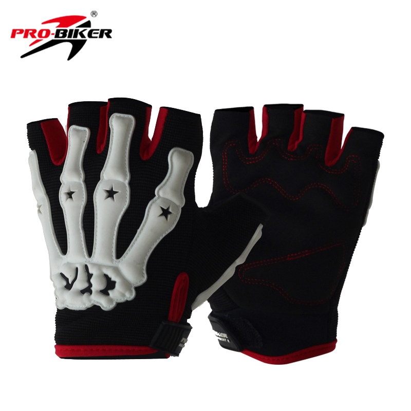 PRO-BIKER Motorcycle Riding Gloves Skull Style Motocross Off-Road Racing Gloves Bicycle Bike Cycling Half Finger Gloves Guantes off road lightweight breathable motorcycle road racing shoes boots genuine pro biker motorcycle riding boots