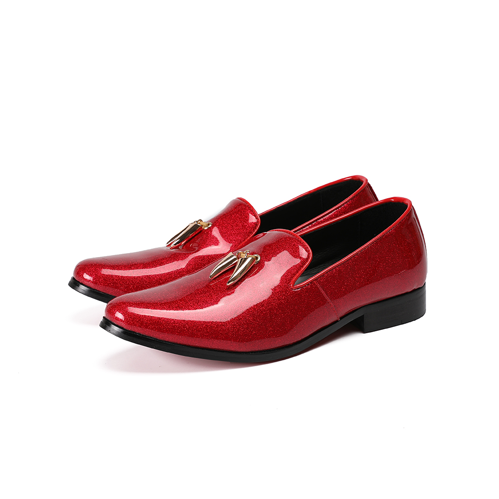 Deification Italian Shiny Leather Shoes Mocasines Hombre Elegant Slip On Causal Loafers Party Wedding Dress Shoes Zapatos Hombre