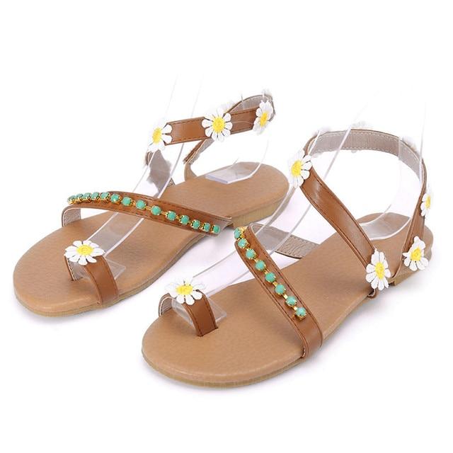 Gladiator Sandals Big size 35-43 Women Bohemia Beaded Summer Flower Flat  Heels Flip Flops Women s Shoes Tstraps Sandals 2018 New
