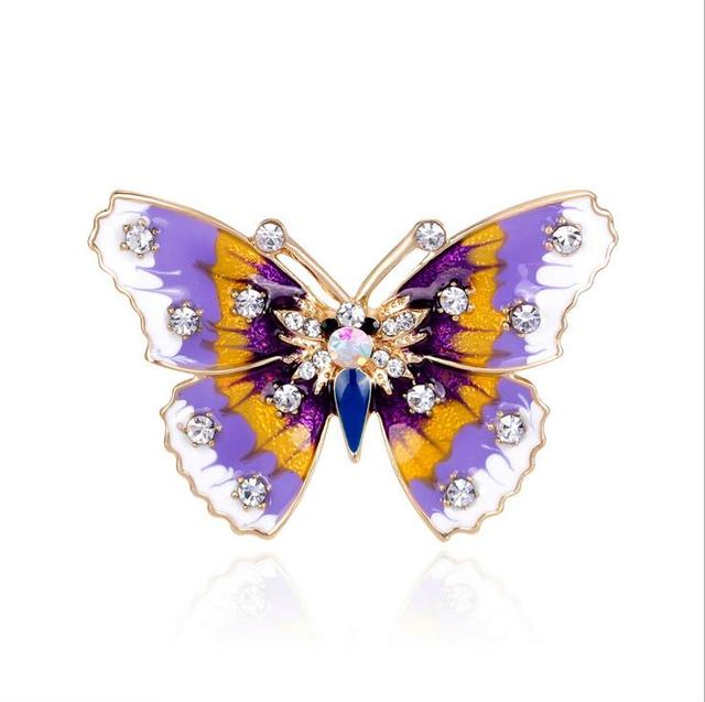 Houbian Vintage Enamel Purple Animal Crystal Butterfly Brooches Pins Brooch  For Women Wedding Bridal Party Bouquet