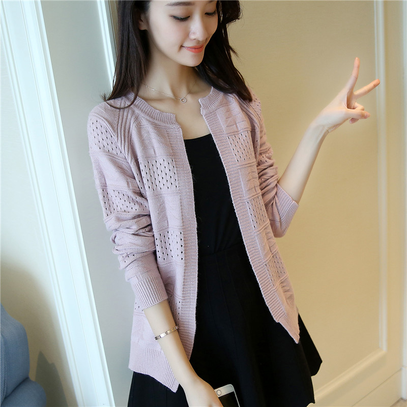 2017 thin section of Korean coat sweater coat short loose knit cardigan dress in a hollowed