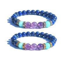83a35c7b67f2 8mm pulsera de piedra Natural Lapis Lazuli púrpura piedra amazonita pulsera  oro plata Spacer pulseras joyería