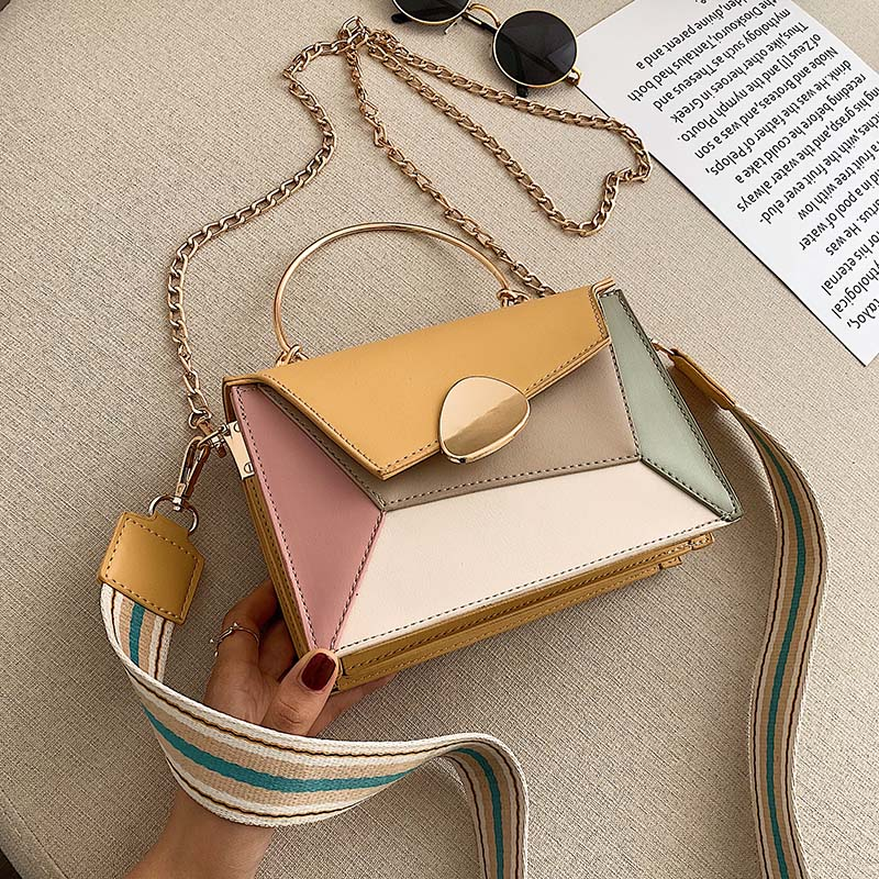 Contrast Color PU Leather Crossbody Bags For Women 2020 Chain Handbags With Metal Handle Shoulder Messenger Bag Small Totes