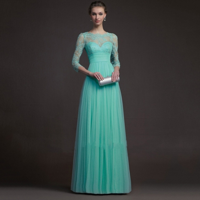 be5c5d3595884 Fabulous 2016 Fashion A-line Empire Waist Scoop Neckline Mint Green Tulle  Lace Long Prom Dresses with Sleeves