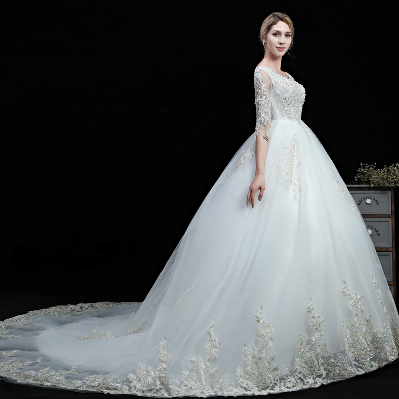 Real Images 2018 New Wedding Gowns Half Sleeves Lace Embroidery Edge Custom Plus Sizes Beads White Ivory Fashion Wedding Dress