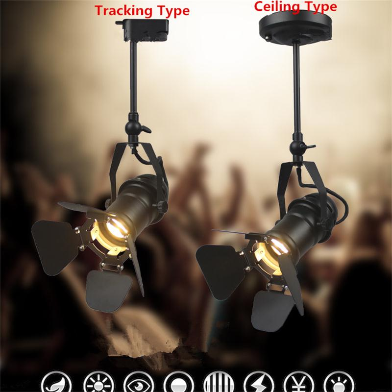 Retro American COB Track Light Industrial Clothing Guide Lighting Bar Store Hall Lounge Minimalist Vintage Rail Pole Spot Lamps end table