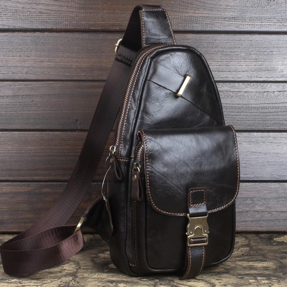 First Layer Cowhide 100% Genuine Leather Men Messenge Shoulder Bag Trend Cross body Rucksack Chest Bag Sling Back pack Travel