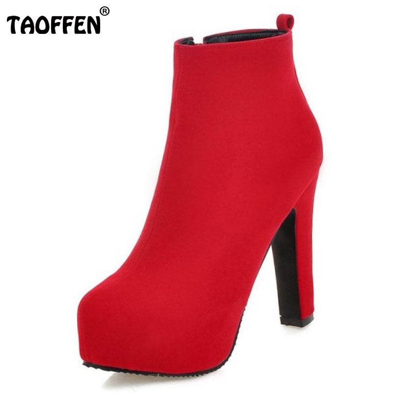 TAOFFEN Women Platform Spike High Heel Ankle Boots Woman Zipper Heels Shoes Brand Suede Leather Botas Feminina Size 34-43
