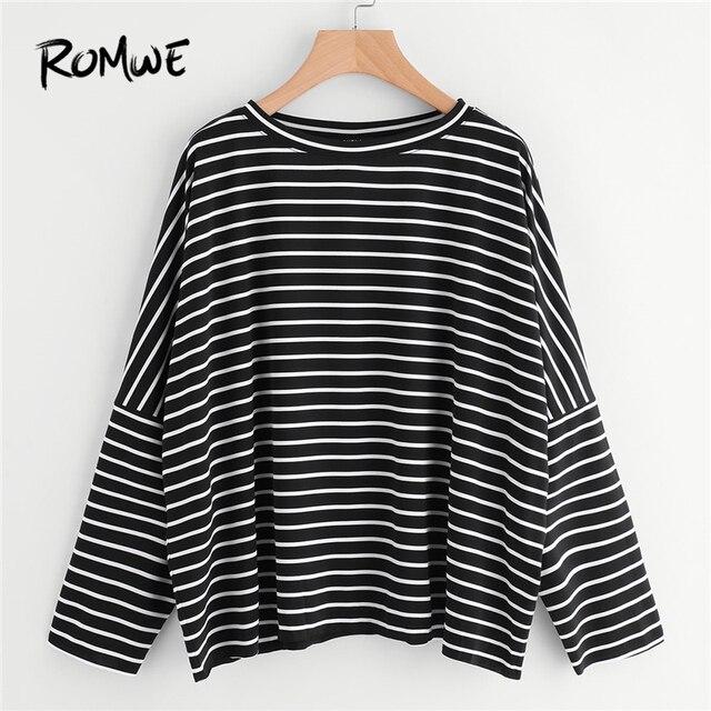 a7af480410a ROMWE Oversized Tops Women Long Sleeve Shirt Autumn Womens Tee Shirt Femme  Drop Shoulder Black and