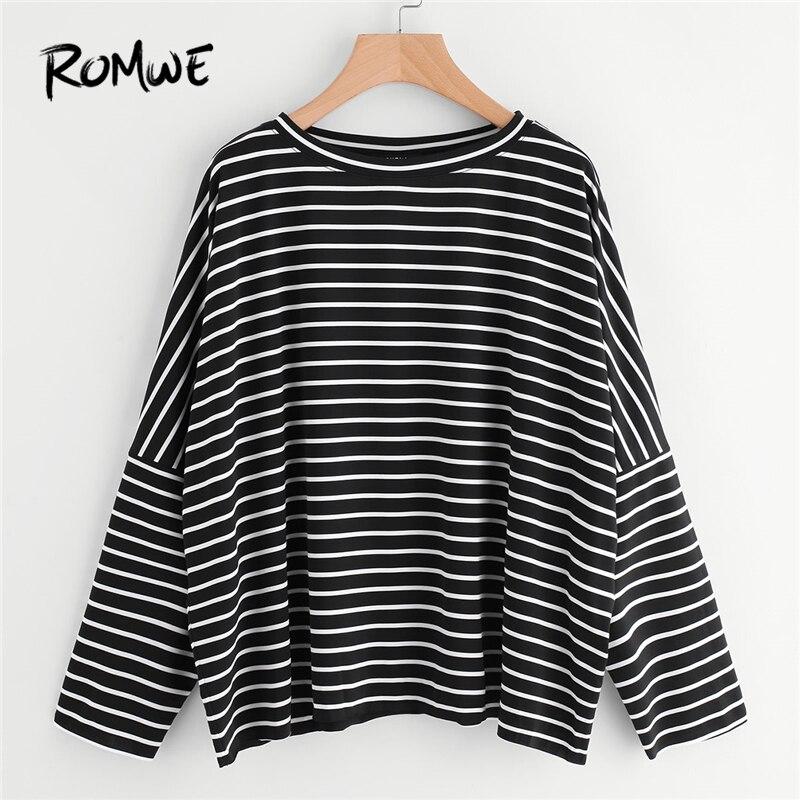 ROMWE Oversized Tops Women Long Sleeve S