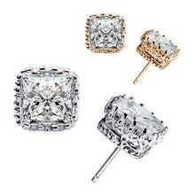 Antique Jewelry Deluxe 10KT Gold Filled Square Cut Cubic Zirconia Diamonique Crown Set Stud Earrings